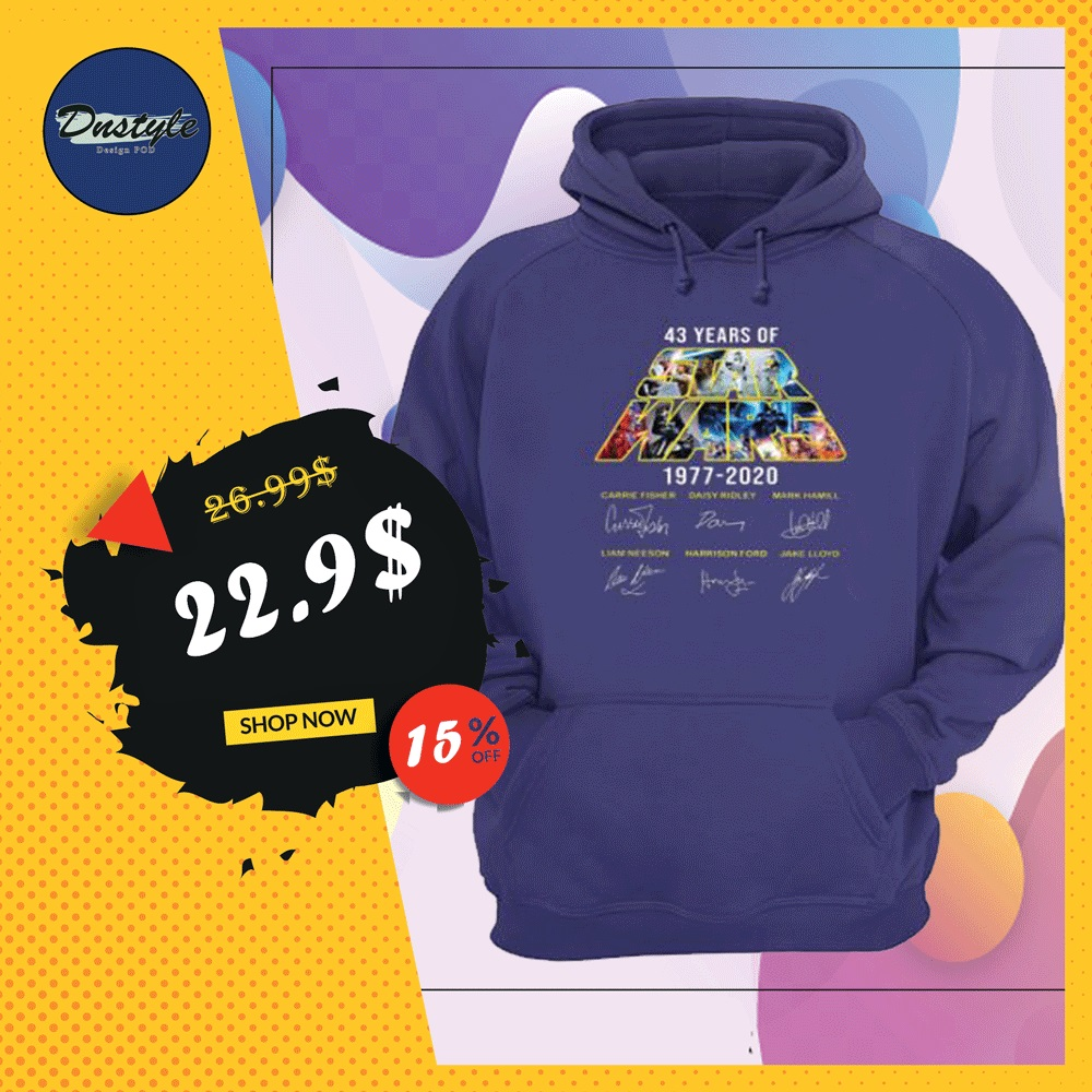 43 years of Star Wars 1977 2020 character signatures hoodie