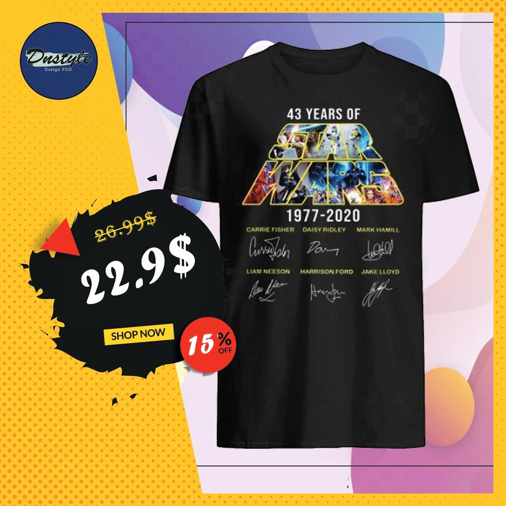 43 years of Star Wars 1977 2020 character signatures shirt