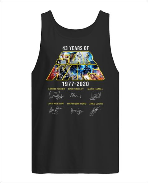 43 years of Star Wars 1977 2020 character signatures tank top