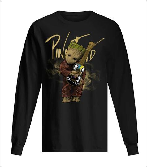Baby Groot hug Pink Floyd guitar long sleeved