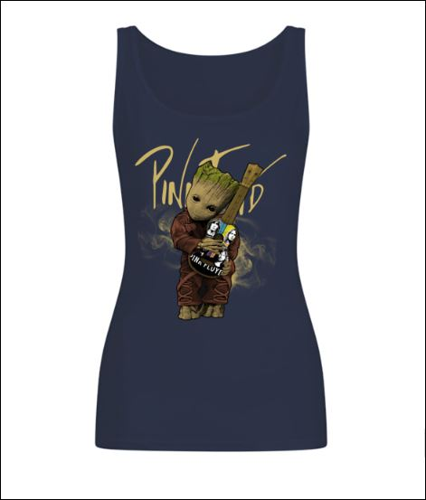 Baby Groot hug Pink Floyd guitar tank top