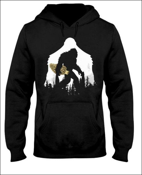 Bigfoot with morel mushroom hoodie