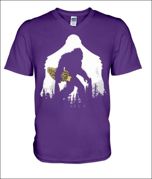 Bigfoot with morel mushroom v-neck shirt