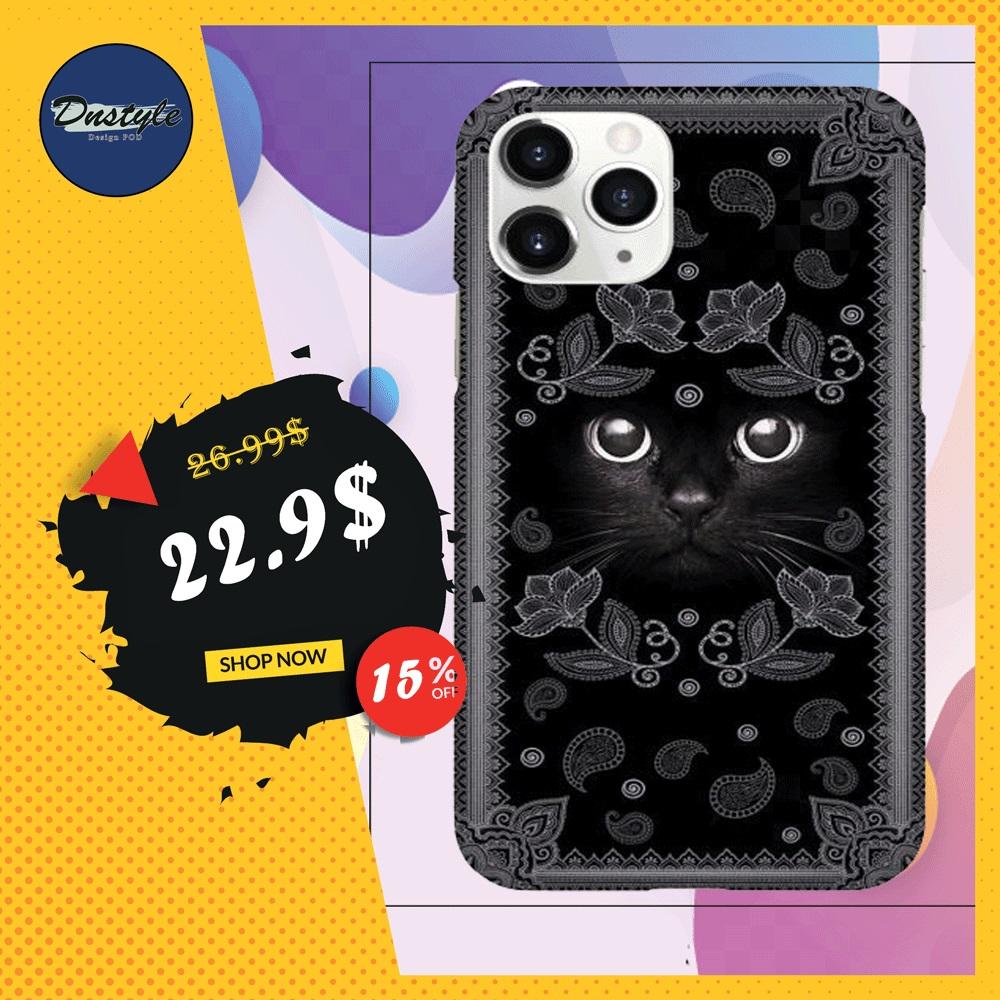 Black cat face phone case