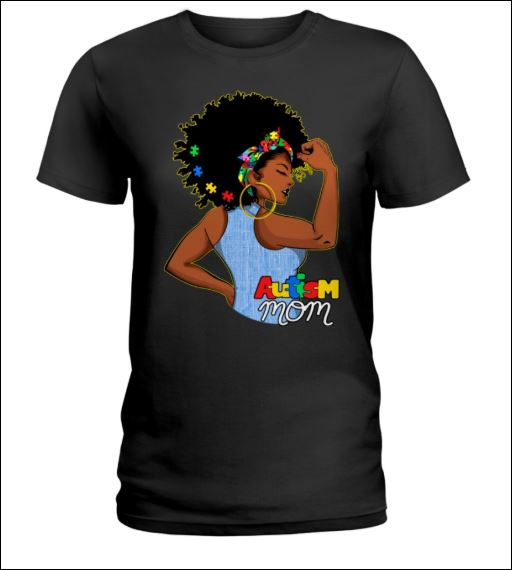 Black women autism mom shirt