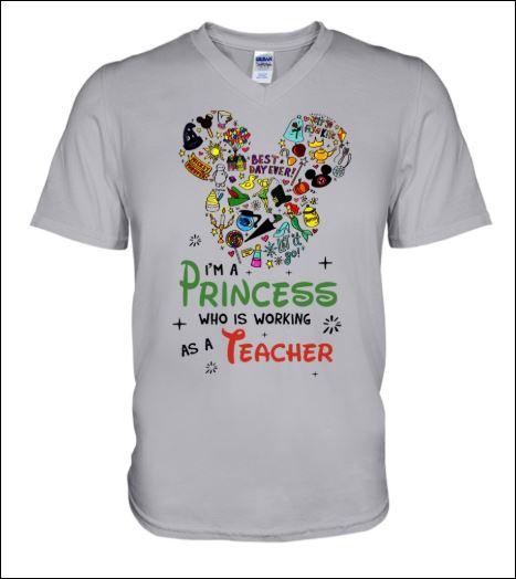 Disney i'm a princess who is working as a teacher v-neck shirt