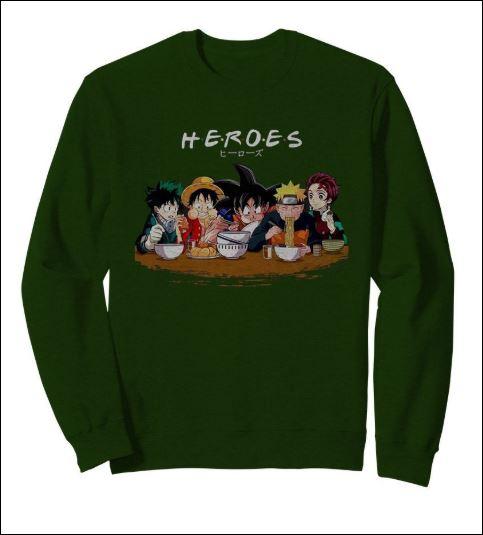 Heroes Izuku Midoriya Luffy Songoku Naruto Tanjiro Friend TV Show sweater