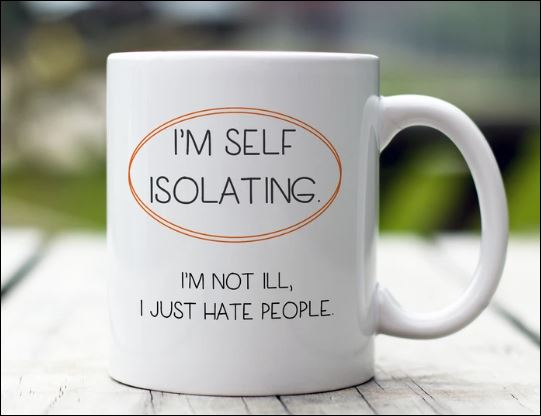 I'm self isolating i'm not ill i just hate people mug