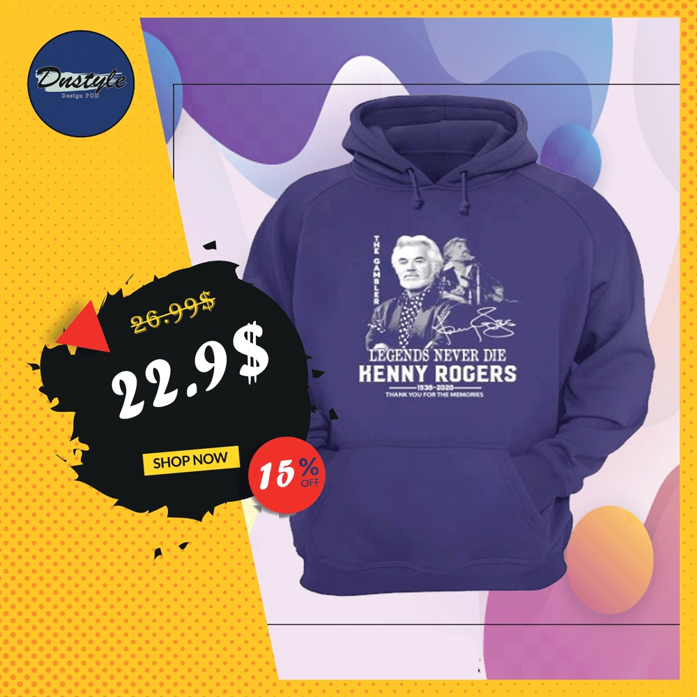 Kenny Rogers legends never die thank you for the memories signature hoodie