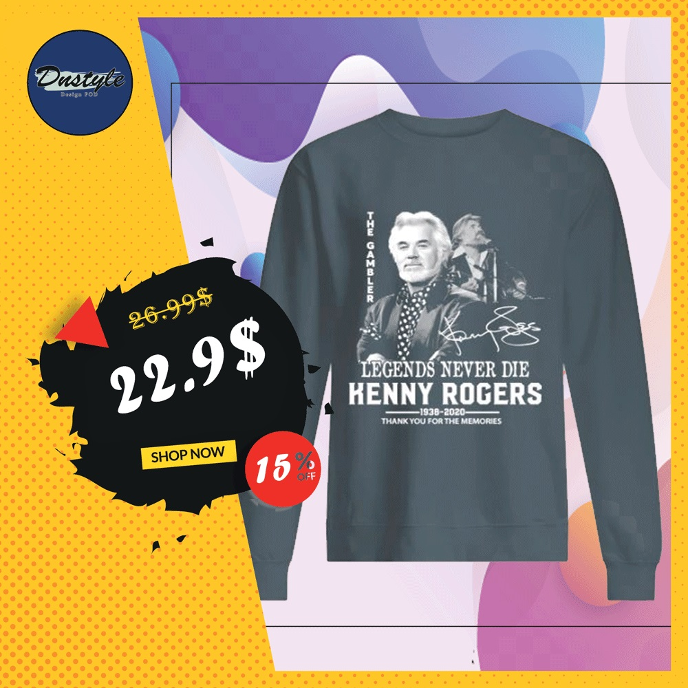 Kenny Rogers legends never die thank you for the memories signature sweater