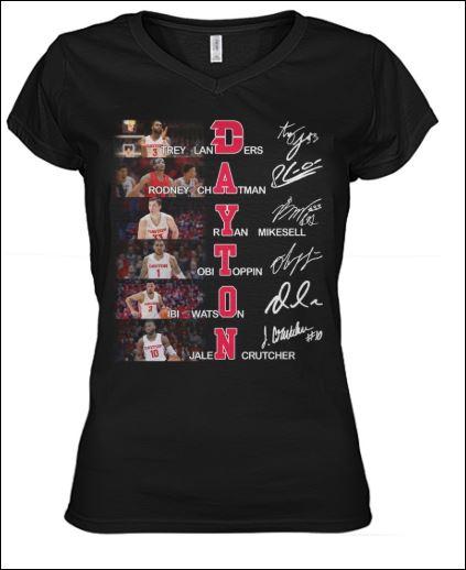 Landers Chatman Mikesell Toppin Watson Crutcher Dayton signatures v-neck shirt