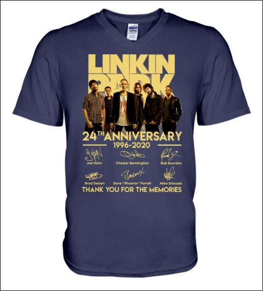 Linkin Park 24th anniversary 1996 2020 signatures v-neck shirt