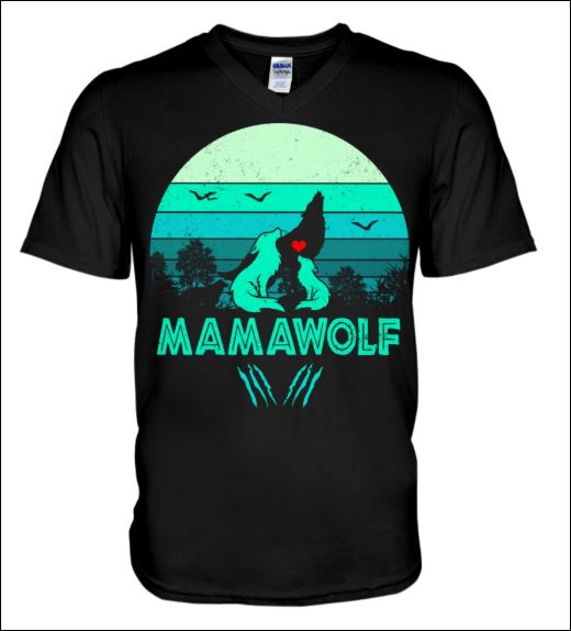 Mama wolf vintage v-neck shirt
