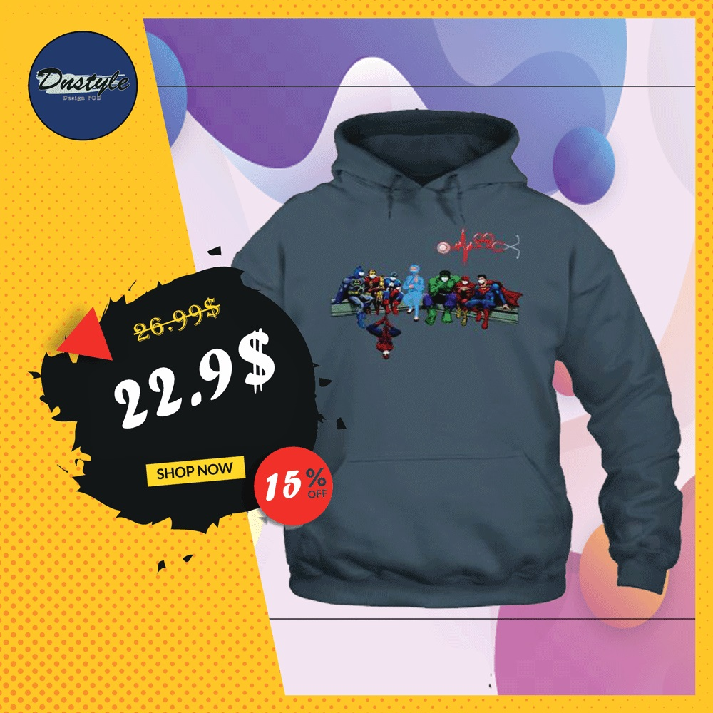 Marvel and DC comic heroes and nurse wear mask hoodie