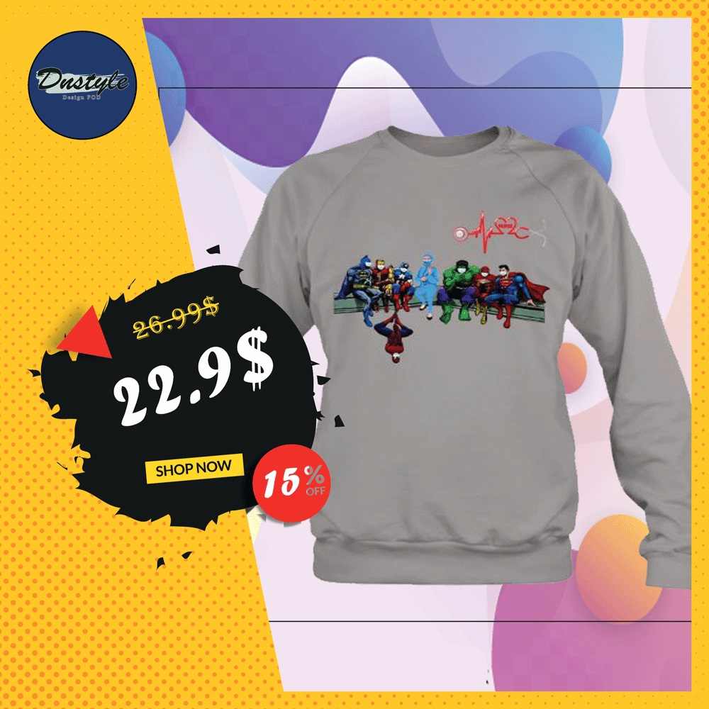 Marvel and DC comic heroes and nurse wear mask sweater