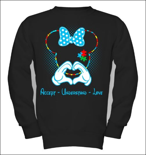 Minnie mouse autism awareness accept understand love sweater