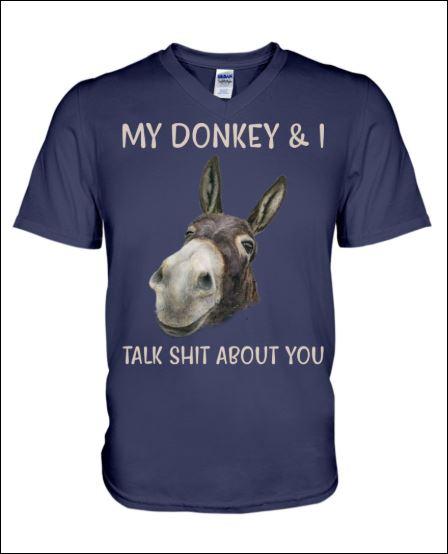 My donkey and i talk shit about you v-neck shirt