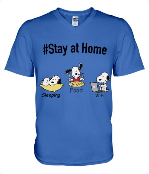 Snoopy stay at home sleeping food wife v-neck shirt