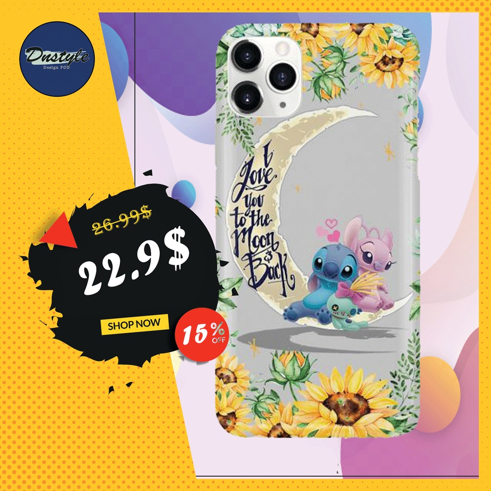 Stitch sunflower i love you the moon and back phone case iphone 11 pro max