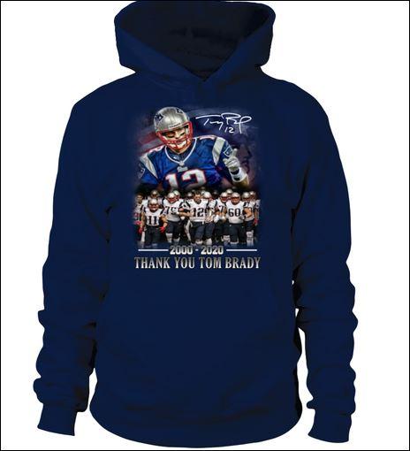 Thank you Tom Brady 2000 2020 signature hoodie