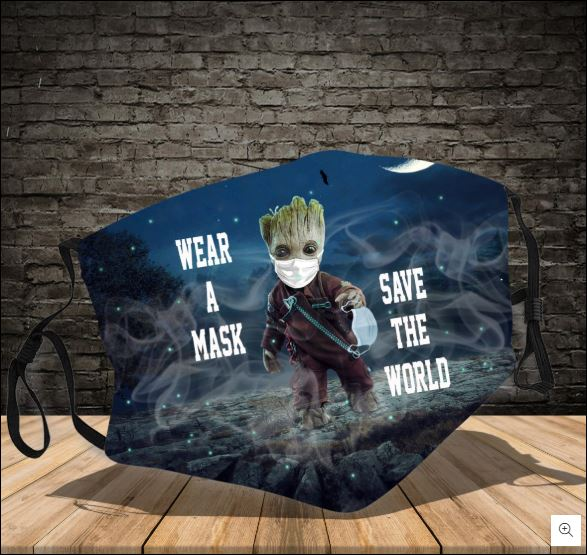 Baby Groot wear a mask save the world face mask