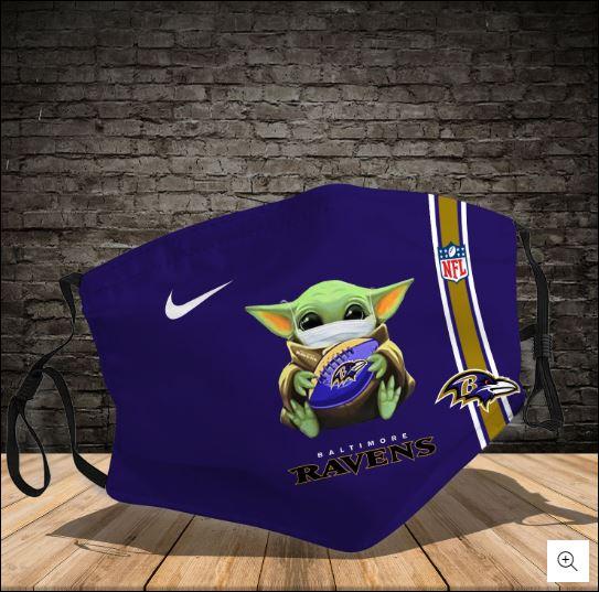 Baby Yoda hug Baltimore Ravens NFL nike face mask
