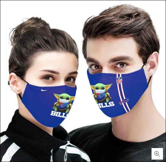 Baby Yoda hug Buffalo Bills NFL nike face mask