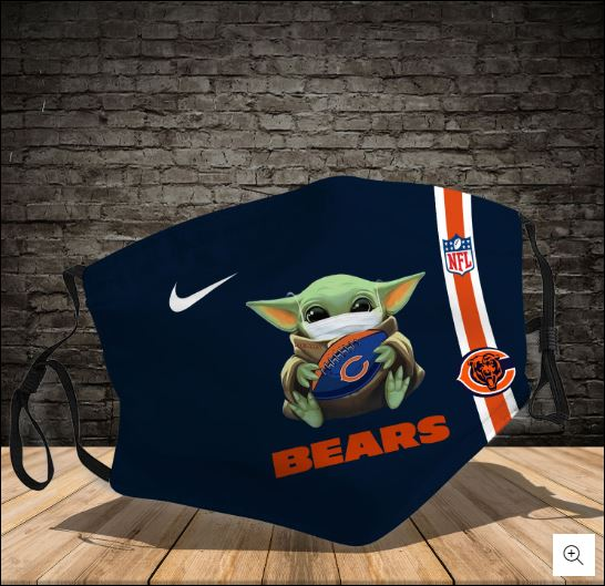 Baby Yoda hug Chicago Bears NFL nike face mask