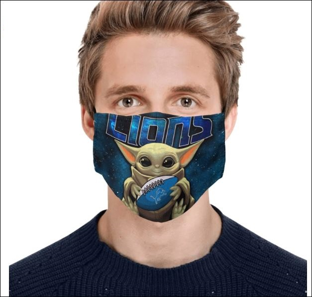 Baby Yoda hug Detroit Lions face mask