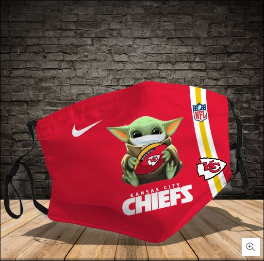 Baby Yoda hug Kansas City Chiefs NFL nike face mask