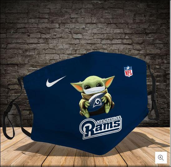 Baby Yoda hug Los Angeles Rams NFL nike face mask