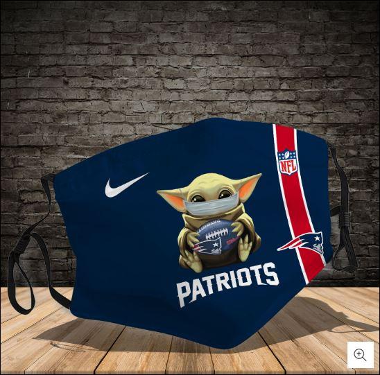 Baby Yoda hug New England Patriots NFL nike face mask