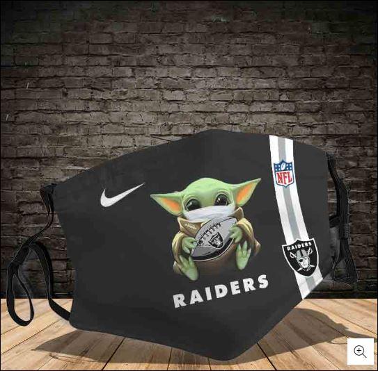 Baby Yoda hug Oakland Raiders NFL nike face mask