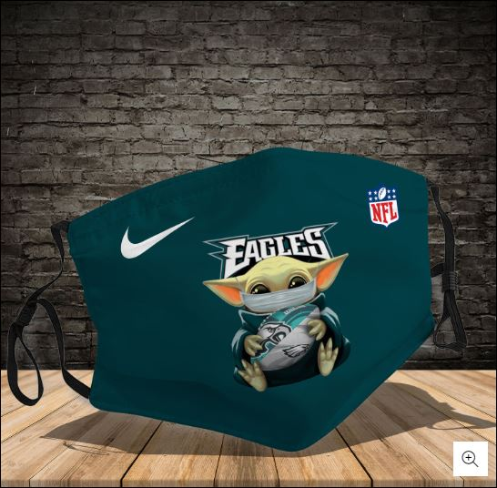 Baby Yoda hug Philadelphia Eagles NFL nike face mask