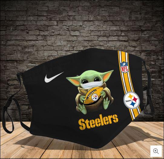 Baby Yoda hug Pittsburgh Steelers NFL nike face mask
