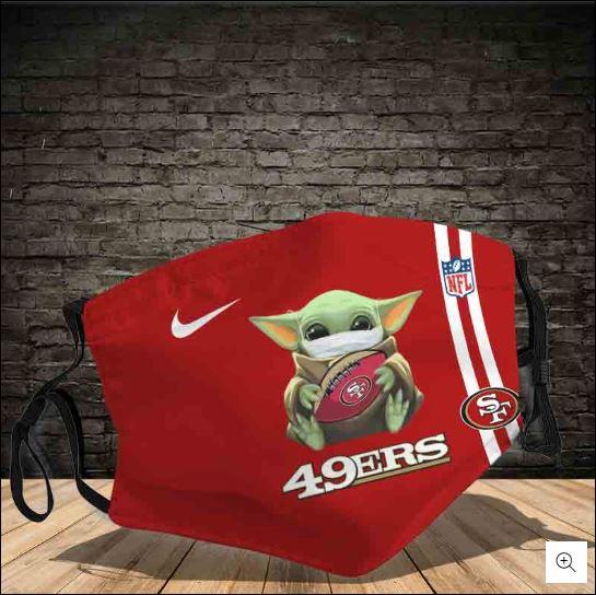 Baby Yoda hug San Francisco 49ers NFL nike face mask
