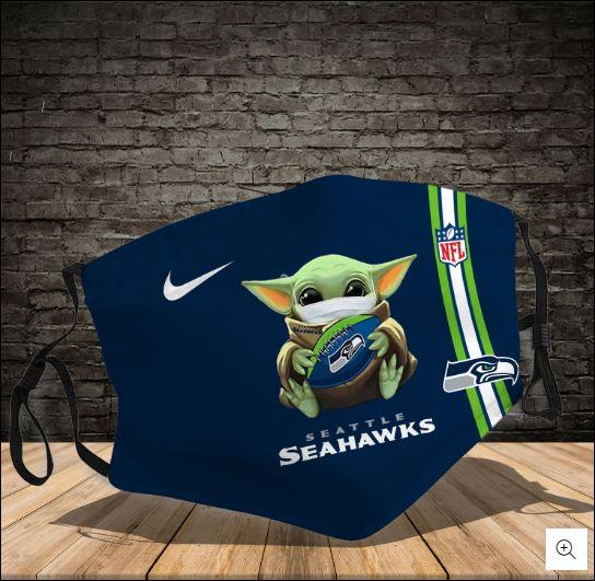 Baby Yoda hug Seattle Seahawks NFL nike face mask