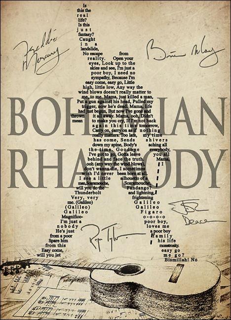 Bohemian Rhapsody signatures poster