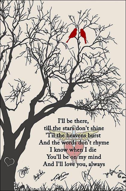 Bon Jovi Always lyrics i'll be there till the stars don't shine signature poster