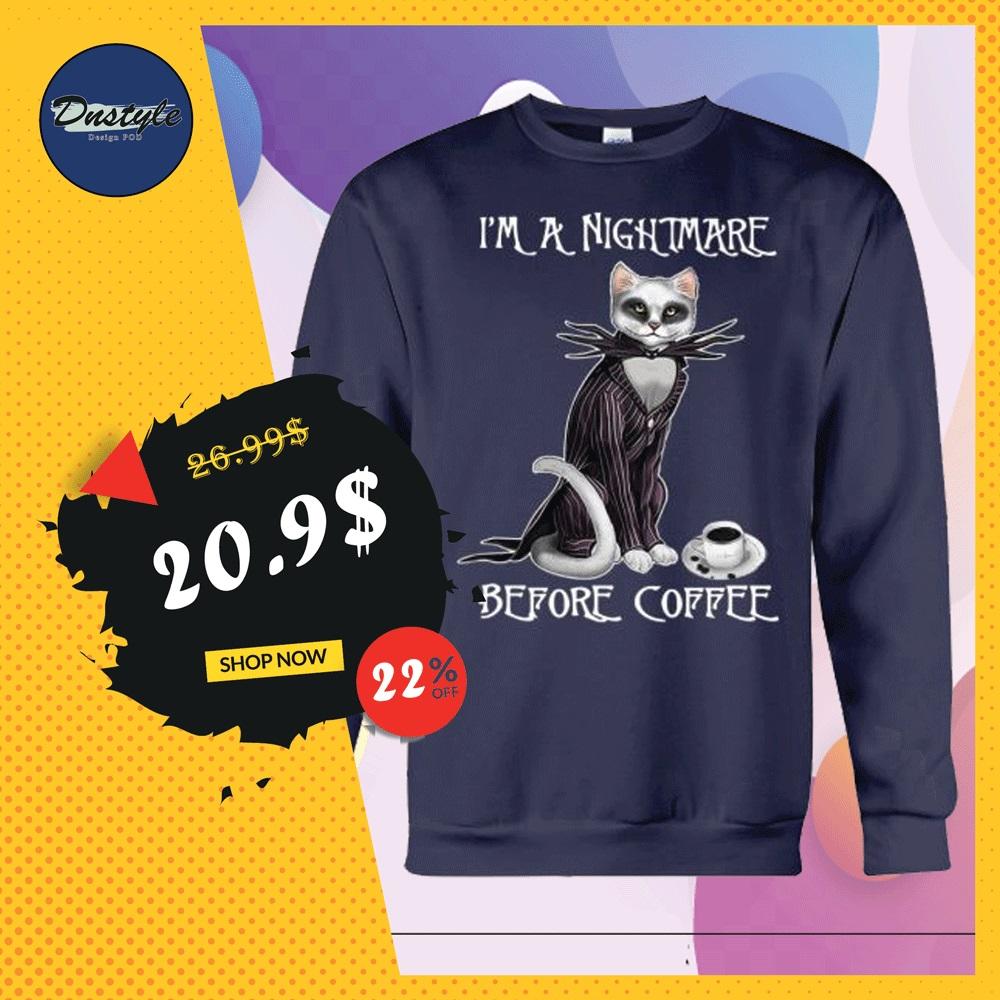 Cat Jack Skellington i'm a nightmare before coffee sweater