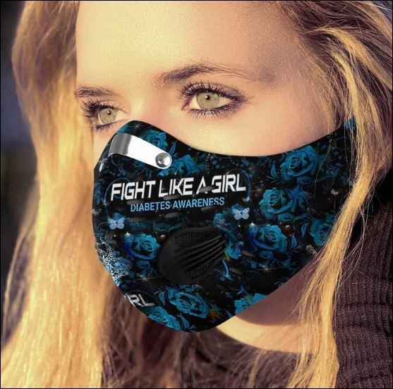Fight like a girl diabetes awareness activated carbon Pm 2.5 Fm face mask