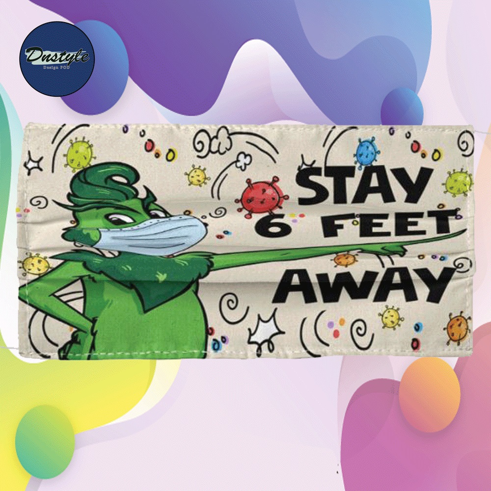 Grinch stay 6 feet away cloth face mask