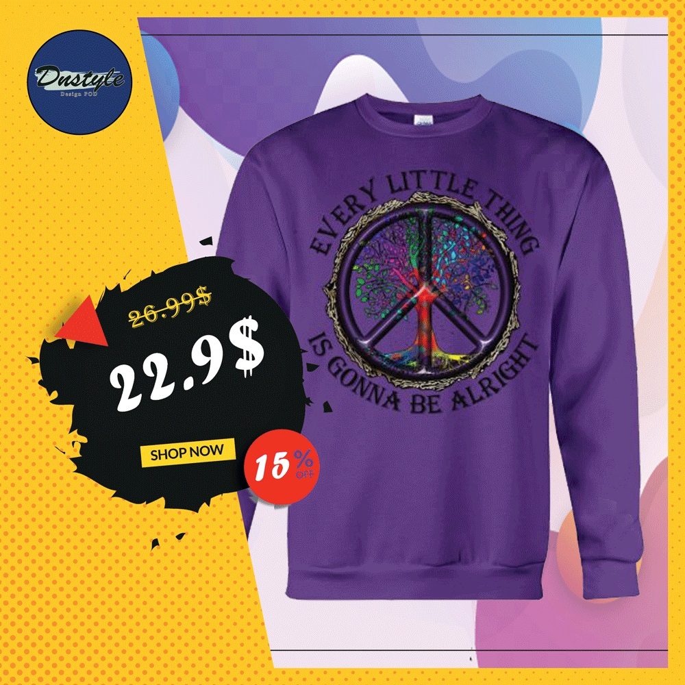 Hippie tree every little thing is gonna be alright sweater