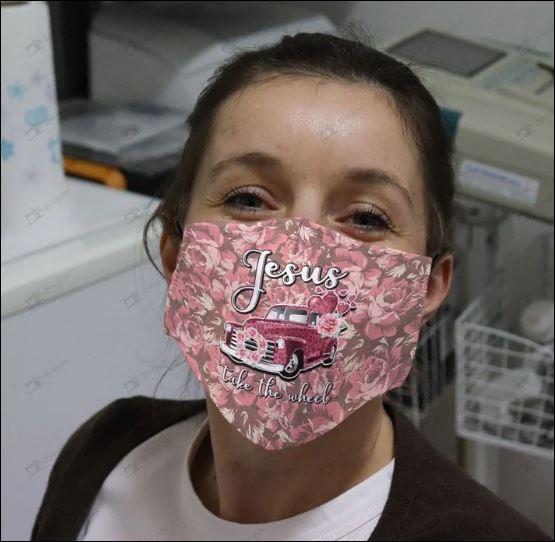 Jesus take the wheel face mask