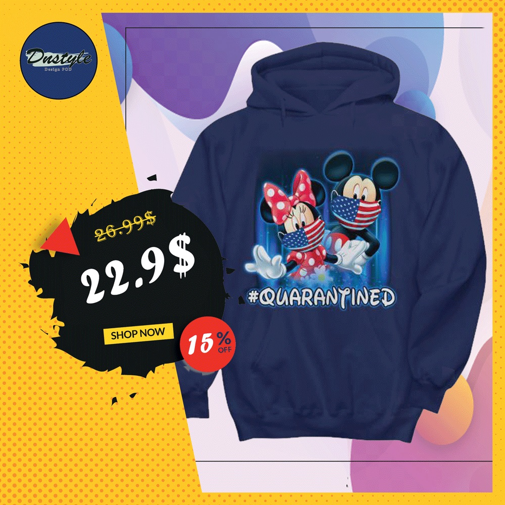 Mickey mouse and Minnie mouse wear mask quarantined hoodie