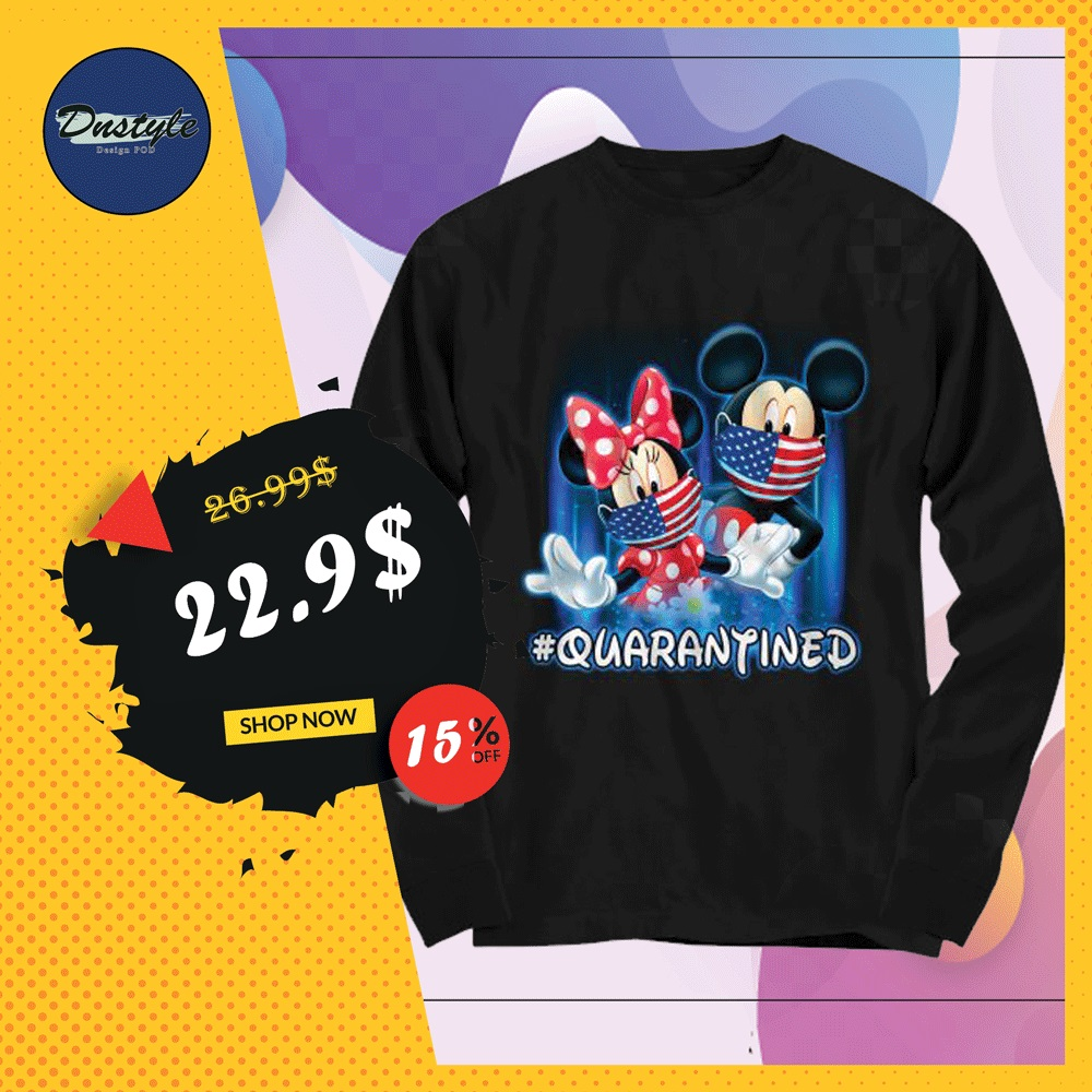 Mickey mouse and Minnie mouse wear mask quarantined long sleeved