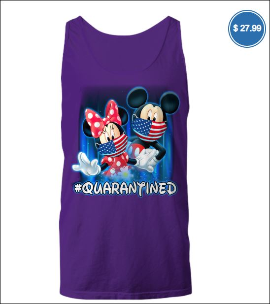 Mickey mouse and Minnie mouse wear mask quarantined tank top