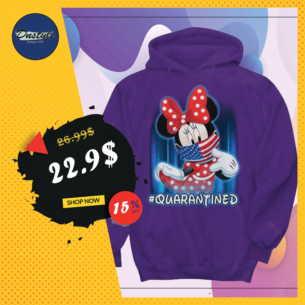Minnie mouse wearing American mask quarantined hoodie
