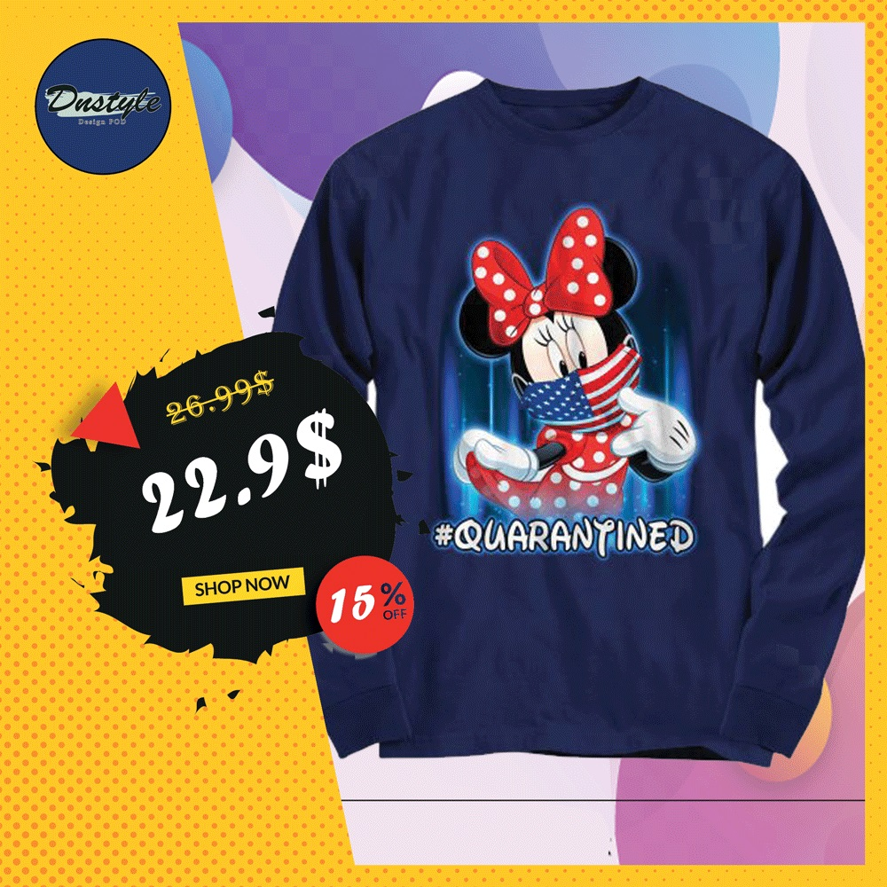 Minnie mouse wearing American mask quarantined long sleeved