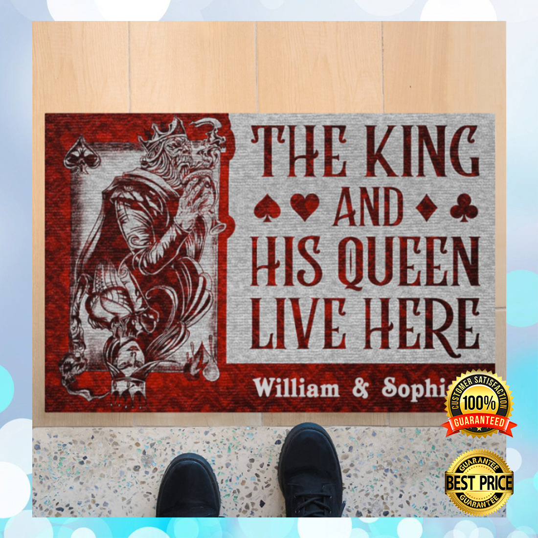 Personalized the king and his queen live here doormat 5